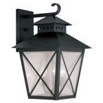 "Montgomery Collection 3-Light 14"" Black Outdoor Wall Lantern with Seeded Glass 2676-04"