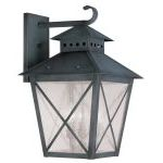 "Montgomery Collection 3-Light 14"" Charcoal Outdoor Wall Lantern with Seeded Glass 2676-61"