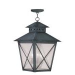 "Montgomery Collection 3-Light 14"" Charcoal Outdoor Chain Hang with Seeded Glass 2677-61"