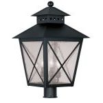 "Montgomery Collection 3-Light 14"" Black Outdoor Post Head with Seeded Glass 2678-04"