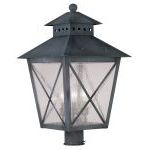 "Montgomery Collection 3-Light 14"" Charcoal Outdoor Post Head with Seeded Glass 2678-61"