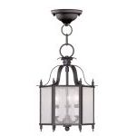 "Legacy Collection 3-Light 10"" Bronze Convertible Chain Hang/Ceiling Mount with Clear Seeded Glass 4397-07"