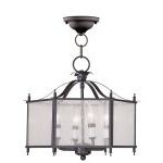 "Legacy Collection 4-Light 16"" Bronze Convertible Chain Hang/Ceiling Mount with Clear Seeded Glass 4399-07"