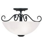 "Heritage Collection 2-Light 15"" Black Ceiling Mount with Hand Blown Satin White Glass 4461-04"