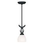 "Brookside Collection 1-Light 6"" Black Mini Pendant with Hand Blown Satin White Glass 4750-04"
