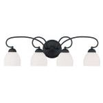 "Brookside Collection 4-Light 31"" Black Bath Light with Hand Blown Satin White Glass 4754-04"