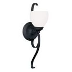 "Brookside Collection 1-Light 6"" Black Wall Sconce with Hand Blown Satin White Glass 4761-04"