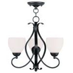 "Brookside Collection 3-Light 20"" Olde Bronze Convertible Chain Hang/Ceiling Mount with Hand Blown Satin White Glass 4763-67"