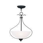 "Brookside Collection 3-Light 15"" Black Pendant with Hand Blown Satin White Glass 4764-04"