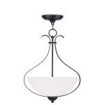 "Brookside Collection 3-Light 15"" Olde Bronze Pendant with Hand Blown Satin White Glass 4764-67"
