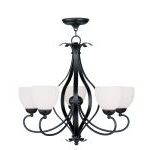 "Brookside Collection 5-Light 26"" Olde Bronze Chandelier with Hand Blown Satin White Glass 4765-67"
