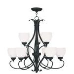 "Brookside Collection 6+3-Light 30"" Black Chandelier with Hand Blown Satin White Glass 4769-04"