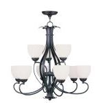 "Brookside Collection 6+3-Light 30"" Olde Bronze Chandelier with Hand Blown Satin White Glass 4769-67"