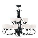 "Brookside Collection 8+4-Light 38"" Black Chandelier with Hand Blown Satin White Glass 4779-04"