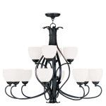 "Brookside Collection 8+4-Light 38"" Olde Bronze Chandelier with Hand Blown Satin White Glass 4779-67"