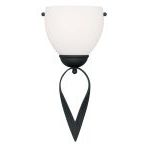 "Brookside Collection 1-Light 6"" Black Wall Sconce with Hand Blown Satin White Glass 4781-04"