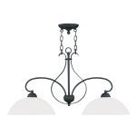 "Brookside Collection 2-Light 13"" Black Island with Hand Blown Satin White Glass 4782-04"