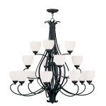 "Brookside Collection 8+4+4-Light 42"" Black Chandelier with Hand Blown Satin White Glass 4789-04"