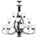 "Brookside Collection 8+4+4-Light 42"" Olde Bronze Chandelier with Hand Blown Satin White Glass 4789-67"