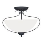 "Brookside Collection 2-Light 15"" Black Ceiling Mount with Hand Blown Satin White Glass 4798-04"