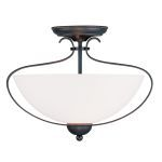 "Brookside Collection 2-Light 15"" Olde Bronze Ceiling Mount with Hand Blown Satin White Glass 4798-67"