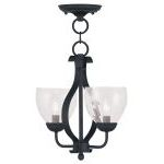 "Brookside Collection 2-Light 13"" Black Convertible Chain Hang/Ceiling Mount with Hand Blown Clear Water Glass 4804-04"