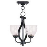 "Brookside Collection 2-Light 13"" Olde Bronze Convertible Chain Hang/Ceiling Mount with Hand Blown Clear Water Glass 4804-67"