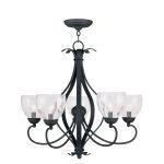 "Brookside Collection 5-Light 26"" Black Chandelier with Hand Blown Clear Water Glass 4805-04"