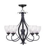 "Brookside Collection 5-Light 26"" Olde Bronze Chandelier with Hand Blown Clear Water Glass 4805-67"