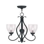 "Brookside Collection 3-Light 20"" Black Chandelier with Hand Blown Clear Water Glass 4807-04"