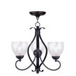 "Brookside Collection 3-Light 20"" Olde Bronze Chandelier with Hand Blown Clear Water Glass 4807-67"