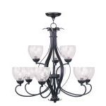 "Brookside Collection 6+3-Light 30"" Olde Bronze Chandelier with Hand Blown Clear Water Glass 4809-67"