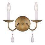"Mercer Collection 2-Light 12"" Antique Gold Leaf Wall Sconce 4842-48"
