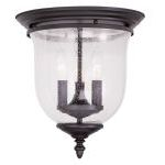"Legacy Collection 3-Light 12"" Bronze Ceiling Mount with Hand Blown Clear Seeded Glass 5024-07"