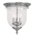 "Legacy Collection 3-Light 12"" Polished Nickel Ceiling Mount with Hand Blown Clear Seeded Glass 5024-35"