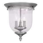 "Legacy Collection 3-Light 12"" Brushed Nickel Ceiling Mount with Hand Blown Clear Seeded Glass 5024-91"