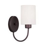 "Sussex Collection 1-Light 5"" Bronze Wall Sconce with Hand-Made Off-White Linen Hardback Sit-on Shade 5261-07"