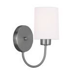 "Sussex Collection 1-Light 5"" Brushed Nickel Wall Sconce with Hand-Made Off-White Linen Hardback Sit-on Shade 5261-91"