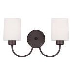 "Sussex Collection 2-Light 15"" Bronze Wall Sconce with Hand-Made Off-White Linen Hardback Sit-on Shade 5262-07"