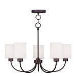 "Sussex Collection 5-Light 24"" Bronze Convertible Chain Hang Chandelier/Ceiling Mount with Hand-Made Off-White Linen Hardback Sit-on Shade 5265-07"