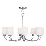 "Sussex Collection 8-Light 30"" Brushed Nickel Convertible Chain Hang Chandelier/Ceiling Mount with Hand-Made Off-White Linen Hardback Sit-on Shade 5268-91"