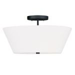 "Mendham Collection 3-Light 16"" Black Ceiling Mount with Hand-Made Off-White Hard Back Shade 5270-04"