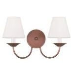 "Mendham Collection 2-Light 15"" Vintage Bronze Wall Sconce with Hand-Made Off-White Hard Back Shade 5272-70"