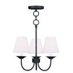 "Mendham Collection 3-Light 15"" Black Convertible Chain Hang/Ceiling Mount with Hand-Made Off-White Hard Back Shade 5273-04"
