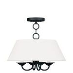 "Mendham Collection 4-Light 16"" Black Chandelier with Hand-Made Off-White Hard Back Shade 5277-04"