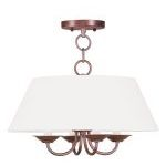"Mendham Collection 4-Light 16"" Vintage Bronze Chandelier with Hand-Made Off-White Hard Back Shade 5277-70"