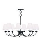 "Mendham Collection 8-Light 31"" Black Convertible Chain Hang Chandelier/Ceiling Mount with Hand-Made Off-White Hard Back Shade 5278-04"