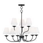 "Mendham Collection 6+3-Light 28"" Black Chandelier with Hand-Made Off-White Hard Back Shade 5279-04"