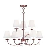 "Mendham Collection 6+3-Light 28"" Vintage Bronze Chandelier with Hand-Made Off-White Hard Back Shade 5279-70"