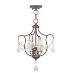 "Chesterfield Collection 4-Light 14"" Venetian Golden Bronze Convertible Chain Hang/Ceiling Mount 6434-71"